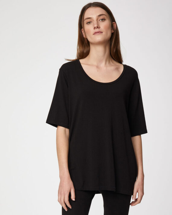 wst4082-black-thought-plain-short-sleeve-womens-bamboo-top-1